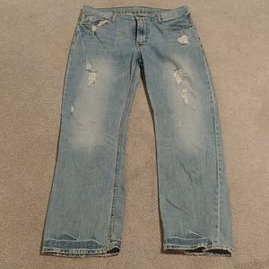 Mens Low Rise Boot Distressed Jeans